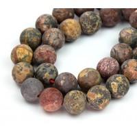 Matte Leopard Skin Jasper Beads, 10mm Round