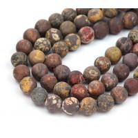 Matte Leopard Skin Jasper Beads, 8mm Round