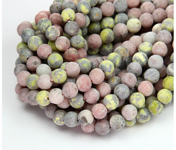 Matte Pink Lepidolite Beads, Natural, 6mm Round