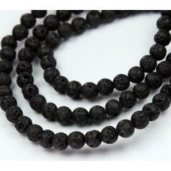 Natural Lava Rock Beads, Black, 6mm Round