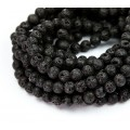 Lava Rock Waxed Beads, Black, 4mm Round