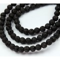 Lava Rock Waxed Beads, Black, 6mm Round, 15 Inch Strand