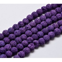 Lava Rock Beads, Purple, 8mm Round