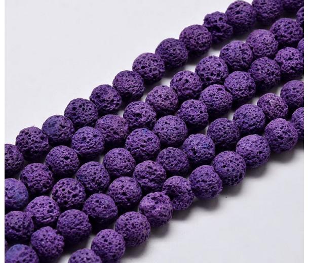 Lava Rock Beads, Purple, 8mm Round