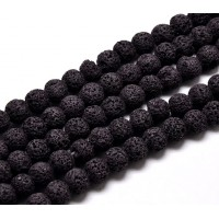 Lava Rock Beads, Black, 8mm Round