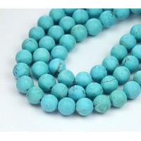 Matte Magnesite Beads, Light Blue, 10mm Round