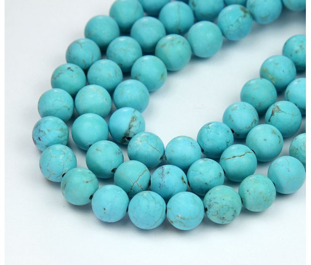 Matte Magnesite Beads, Light Blue, 8mm Round