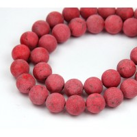 Matte Magnesite Beads, Red, 10mm Round