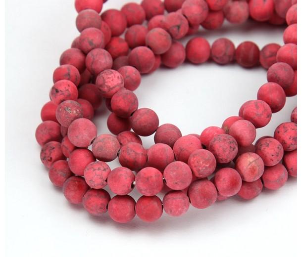 Matte Magnesite Beads, Red, 6mm Round