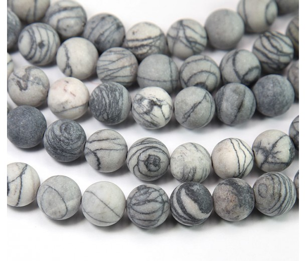 Matte Netstone Beads, 10mm Round