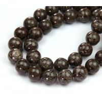 Brown Snowflake Obsidian Beads, 8mm Round