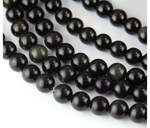 Rainbow Obsidian Beads, 8mm Round