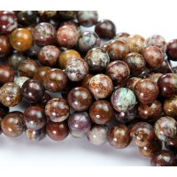 African Opal Beads, Brown, 8mm Round