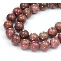 Rhodonite Beads, Dark Pink, 10mm Round