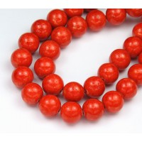 River Stone Jasper Beads, Bright Orange, 10mm Round