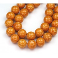 River Stone Jasper Beads, Pumpkin Orange, 10mm Round