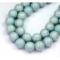 River Stone Jasper Beads, Pale Blue, 10mm Round