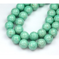 River Stone Jasper Beads, Pastel Teal, 10mm Round