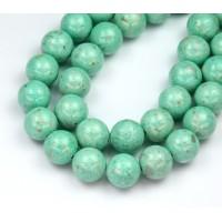 River Stone Jasper Beads, Pastel Teal, 10mm Round