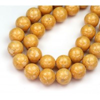 River Stone Jasper Beads, Goldenrod Yellow, 10mm Round