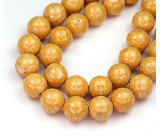 River Stone Jasper Beads, Goldenrod Yellow, 10mm Round