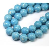 -River Stone Jasper Beads, Light Blue, 10mm Round