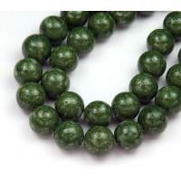 River Stone Jasper Beads, Dark Green, 10mm Round