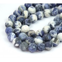 Matte Sodalite Beads, Blue and White, 8mm Round