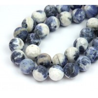 Matte Sodalite Beads, Blue and White, 10mm Round