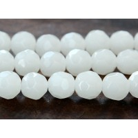 White Glass Beads, 10mm Faceted Round