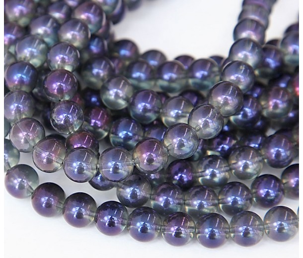 Crystal Glass Beads, Purple AB, 8mm Smooth Round