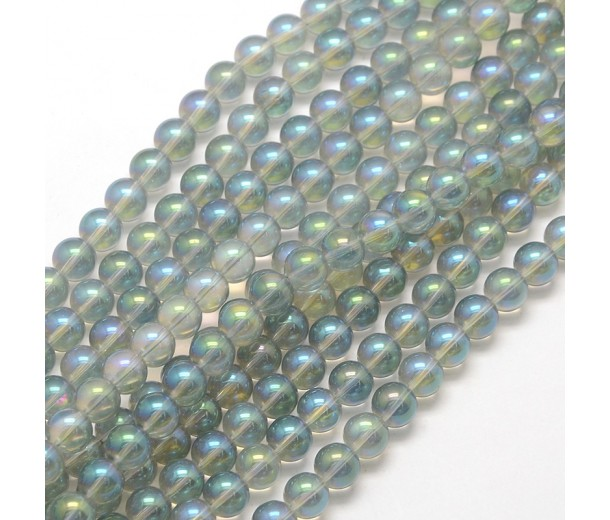 Crystal Glass Beads, Light Grey AB, 8mm Smooth Round