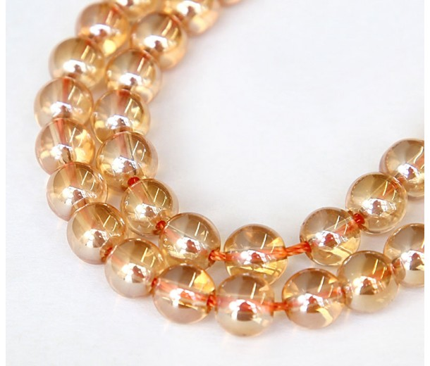 Crystal Glass Beads, Peach AB, 8mm Smooth Round