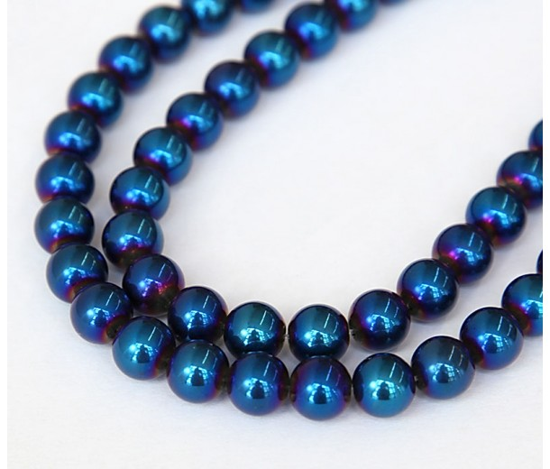 Crystal Glass Beads, Dark Blue AB, 8mm Smooth Round