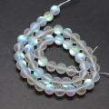 Matte Foiled Crystal Glass Beads, White, 8mm Smooth Round