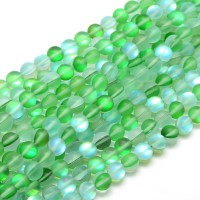 Matte Foiled Crystal Glass Beads, Green, 10mm Smooth Round