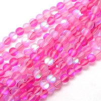 Matte Foiled Crystal Glass Beads, Fuchsia, 10mm Smooth Round