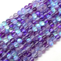 Matte Foiled Crystal Glass Beads, Purple, 10mm Smooth Round