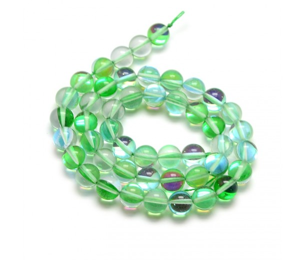 Foiled Crystal Glass Beads, Green, 8mm Smooth Round