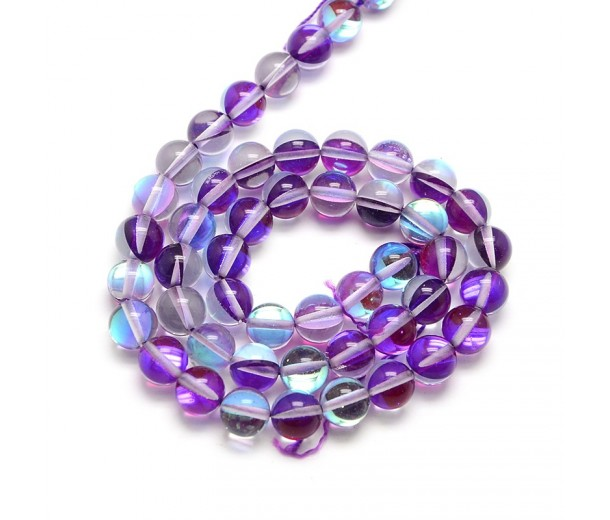 Foiled Crystal Glass Beads, Orchid, 10mm Smooth Round
