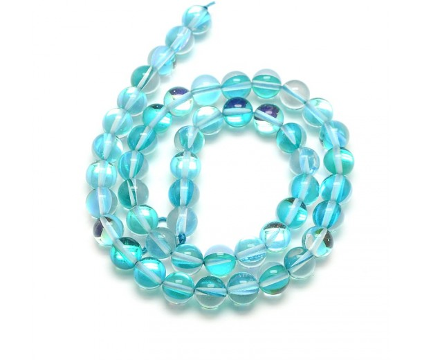 Foiled Crystal Glass Beads, Teal, 10mm Smooth Round