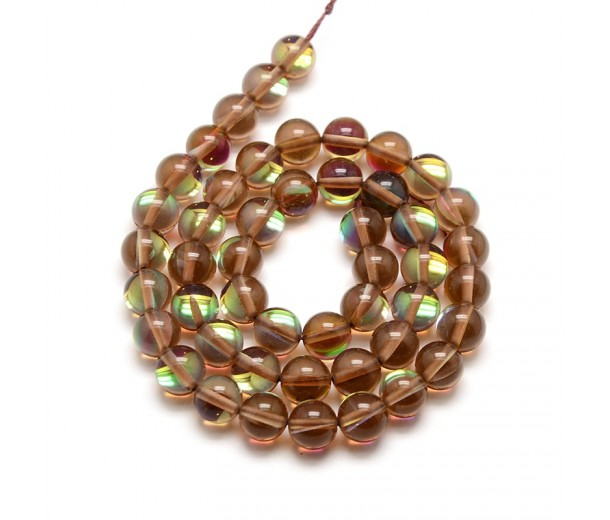 Foiled Crystal Glass Beads, Brown, 8mm Smooth Round