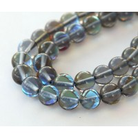Foiled Crystal Glass Beads, Grey, 8mm Smooth Round