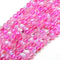 Foiled Crystal Glass Beads, Pink, 8mm Smooth Round