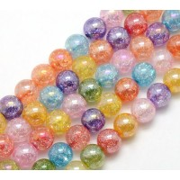 Multicolor AB Crackle Glass Beads, 10mm Smooth Round