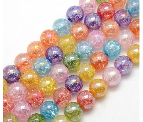 Multicolor AB Crackle Glass Beads, 8mm Smooth Round