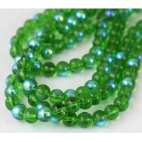 Green AB Glass Beads, 8mm Smooth Round