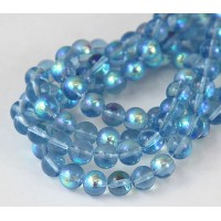 Light Blue AB Glass Beads, 8mm Smooth Round
