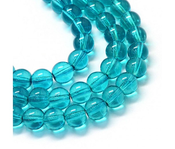 Glass Beads, Blue Teal, 8mm Smooth Round