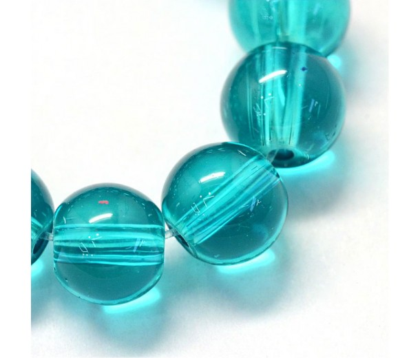 Glass Beads, Blue Teal, 10mm Smooth Round